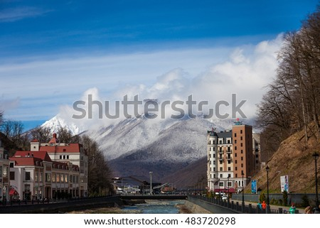 Rosa Khutor, Russia - March 20, 2016: view of the river on of world class ski resort of Rosa Khutor, which was built for the Olympic Games 2014