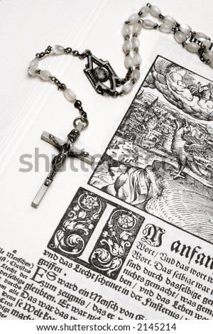 Rosary and Bible (Close View) - stock photo