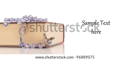 Rosary and bible With Space for Text - stock photo