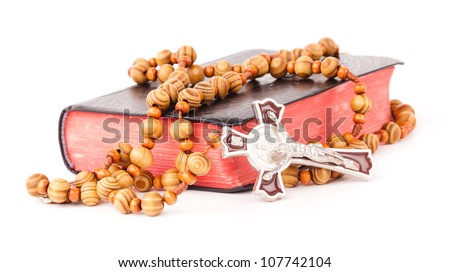 rosary and book - stock photo