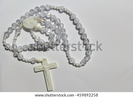 Rosary Beads with Crucifix - Hail Mary  - stock photo