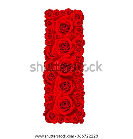 Rose alphabet set - Alphabet capital letter I made from red rose blossoms isolated on white background - stock photo