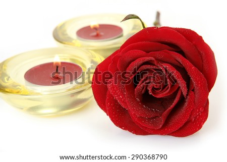 Rose and candles  - stock photo