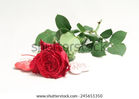 Rose and hearts figures, red flower - stock photo