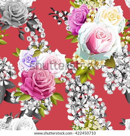 Rose and tree flowers (bird cherry tree) on red. Seamless background pattern.  - stock photo