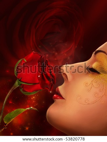 rose and woman face collage - stock photo
