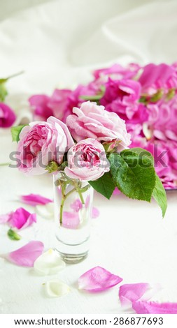 rose bouquet and rose petals on the white background