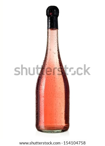 Rose champagne bottle with drops - stock photo