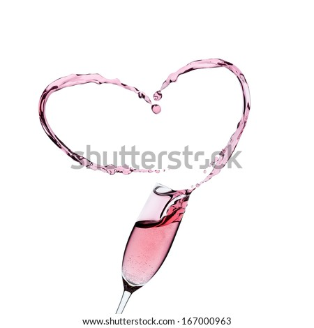 Rose champagne glass with a splash in the shape of a heart