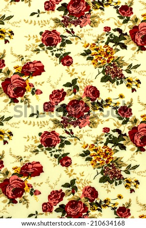 Rose Fabric background, Fragment of colorful retro tapestry on yellow background, Fragment of colorful retro tapestry textile pattern with floral ornament useful as background