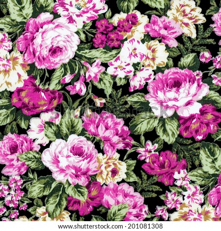 rose fabric background, Fragment of colorful retro tapestry textile pattern with floral ornament useful as background. pink rose. - stock photo