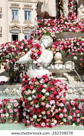 Rose Festival (Festival des Roses) in Lyon, France. View on square des Jacobins and its fountain.  - stock photo