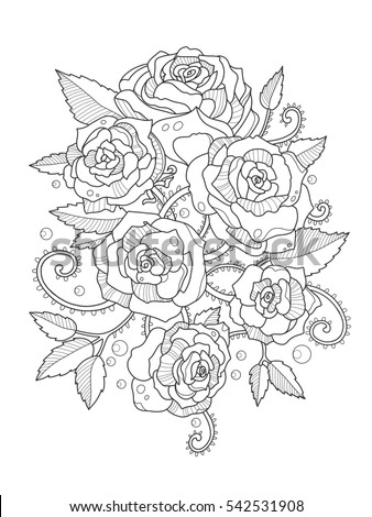 Rose Flower Coloring Book Adults Vector Stock Vector 541179040 ...