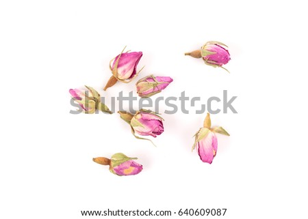 rose flower dry tea isolated on a white background