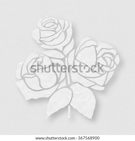 Rose flower stencil silhouette on vintage paper background. Retro design. - stock photo