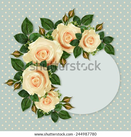 Rose flowers frame on blue spotted background - stock photo
