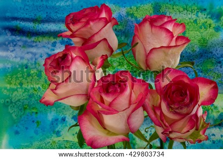 Rose flowers on bright background. A rose is a woody perennial flowering plant of the genus Rosa, in the family Rosaceae, or the flower it bears. - stock photo