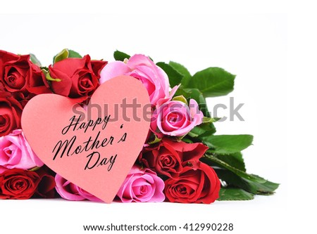Rose flowers with greeting card for Mother's Day