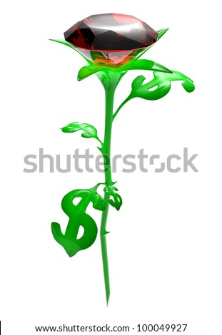 Rose from leaves in the form of brilliant dollar