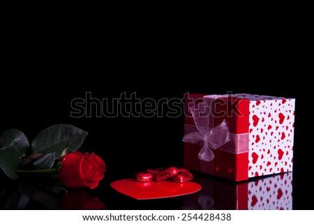 Rose, gift box and Chocolate - stock photo