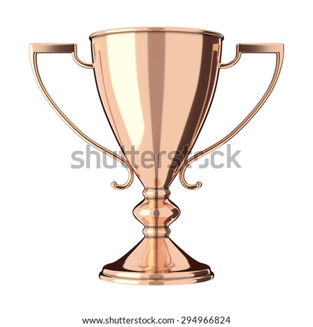 Rose gold or bronze trophy cup isolated on white background. Victory, best product, service or employee, first place concept. Achievement in sports. Isolated on white background. - stock photo