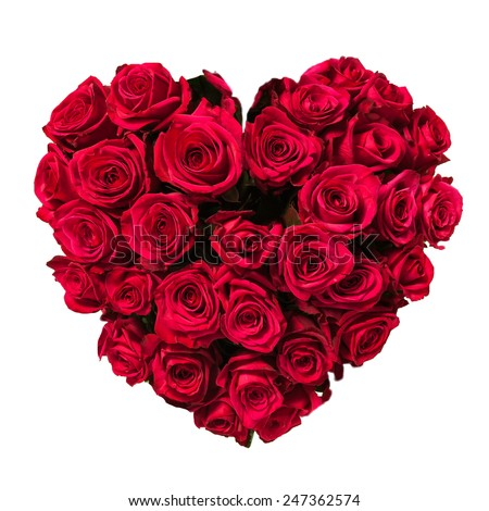 Rose heart isolated on white, clipping path included - stock photo