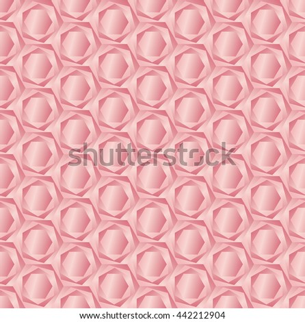 rose hexagon light 3d geometric pattern  - stock photo