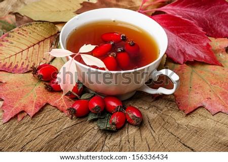rose hip tea - stock photo