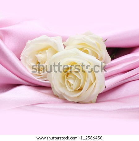 rose on pink silk background - stock photo