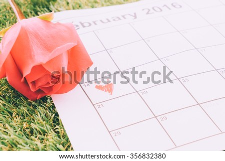 rose on the calendar with the date of February 14 Valentine's day - sweety effect picture style