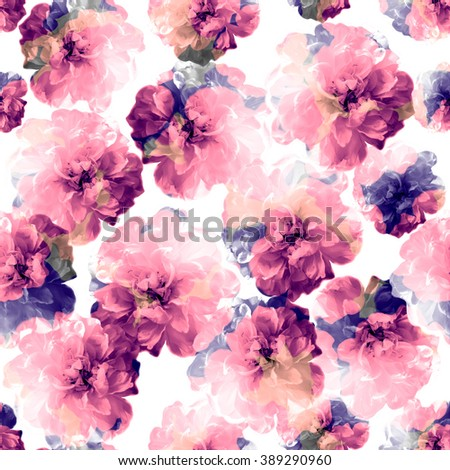 Rose pattern,seamless with effect on it. - stock photo