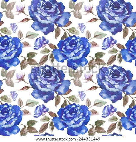 Rose Pattern Watercolor Wallpaper Blue Roses