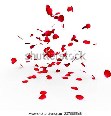 Rose petals falling on a surface on a white background isolated - stock photo