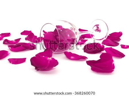 Rose petals, wine glass isolated on a white background. Valentine's day concept, toned image, selective focus. - stock photo