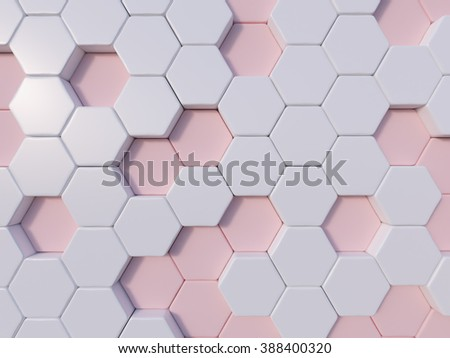 Rose Quartz  abstract 3d hexagon background bee hive - stock photo