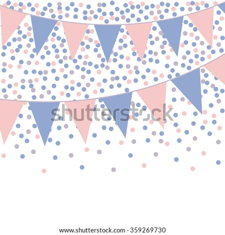 Rose quartz and serenity bunting background with confetti.