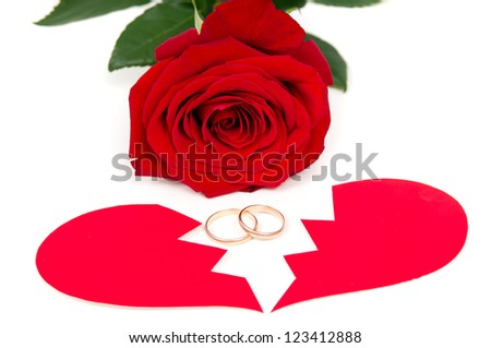 rose ring and the two halves of heart isolated - stock photo