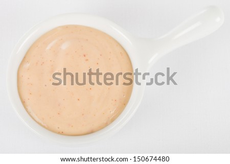 Rose Sauce / Fry Sauce Dip - Bowl of dipping sauce made with ketchup and mayonnaise. Shot from above on a white background.  - stock photo