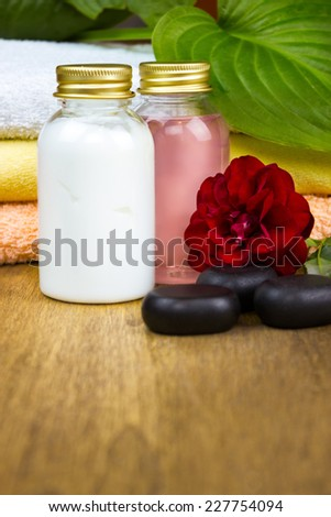 rose spa, set for showering with rose perfume
