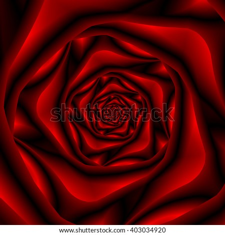 Rose Spiral in Black and Red / An abstract fractal image with a rose spiral design in red and black. - stock photo