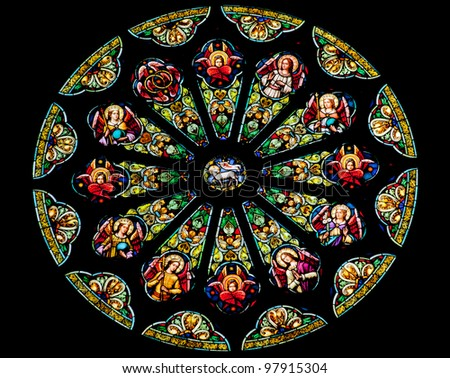 Rose Stained Glass Window Saint Peter Paul Catholic Church Completed 1924 San Francisco California