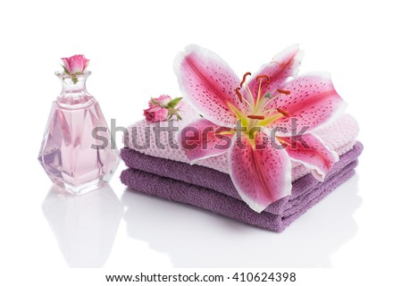 rose still life spa with  amaryllis flower isolated on white