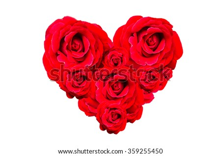 Rose Valentine With Heart Shape Isolated On White Background.