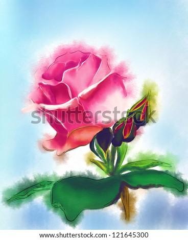 rose. watercolor - stock photo