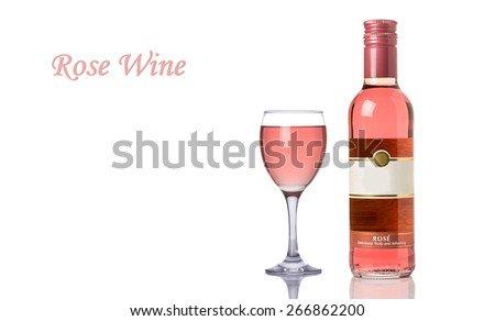 Rose Wine Bottle and a Full Glass Isolated on a White Background. Copy Space.  - stock photo