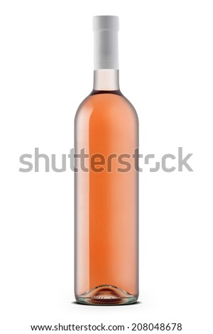 Rose wine bottle  isolated on white - stock photo
