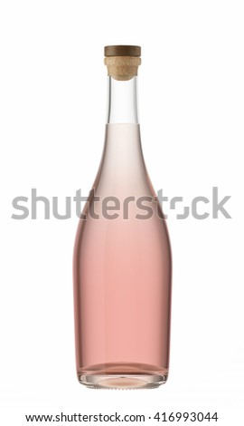 Rose wine bottle with a wooden stopper isolated on white background. 3D Mock up for your design.  - stock photo