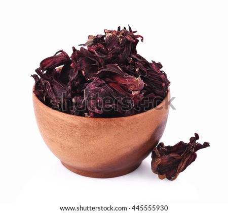 Roselle dry on white background