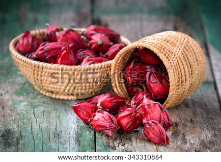 roselle in the basket on table - stock photo