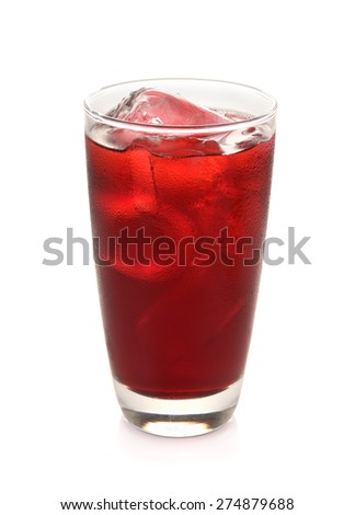 roselle mocktail drink isolated on white - stock photo
